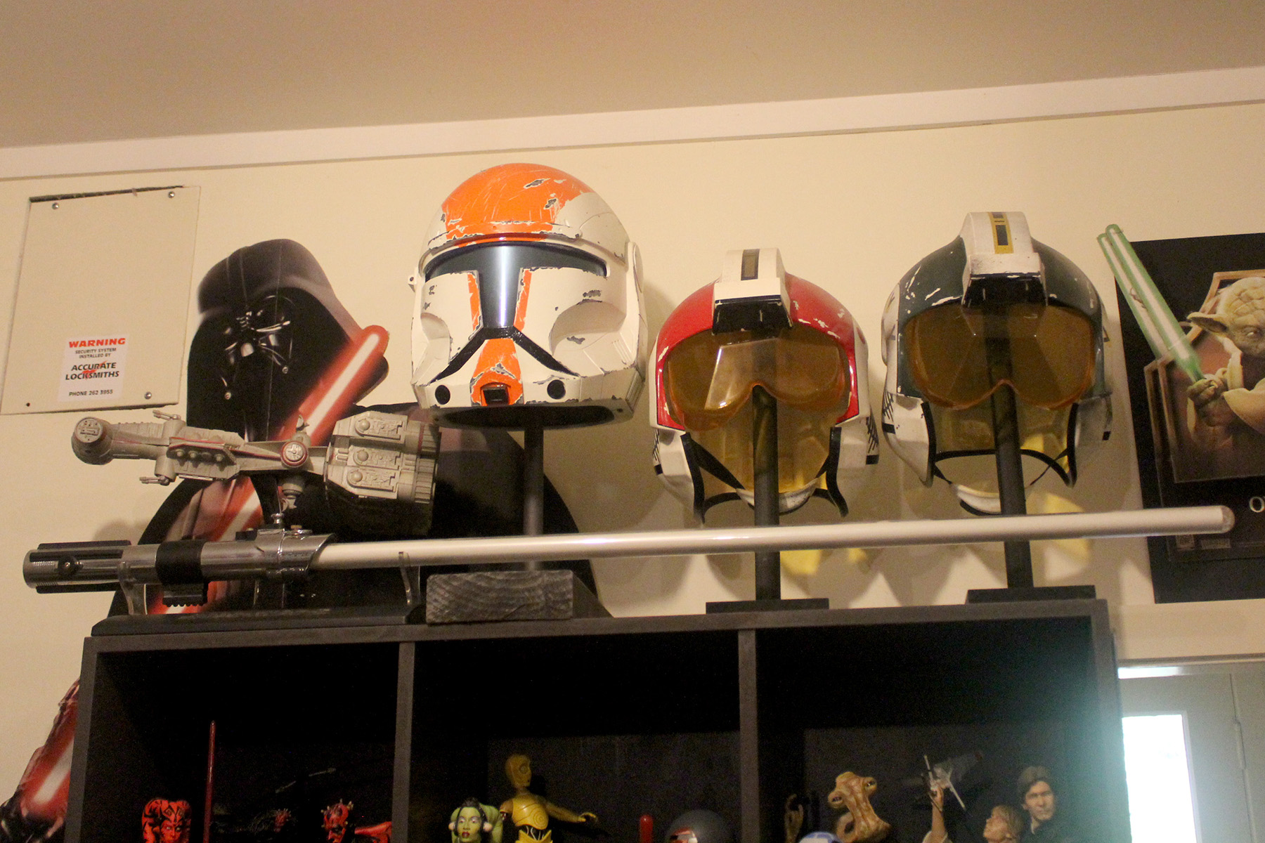 Helmets and lightsaber
