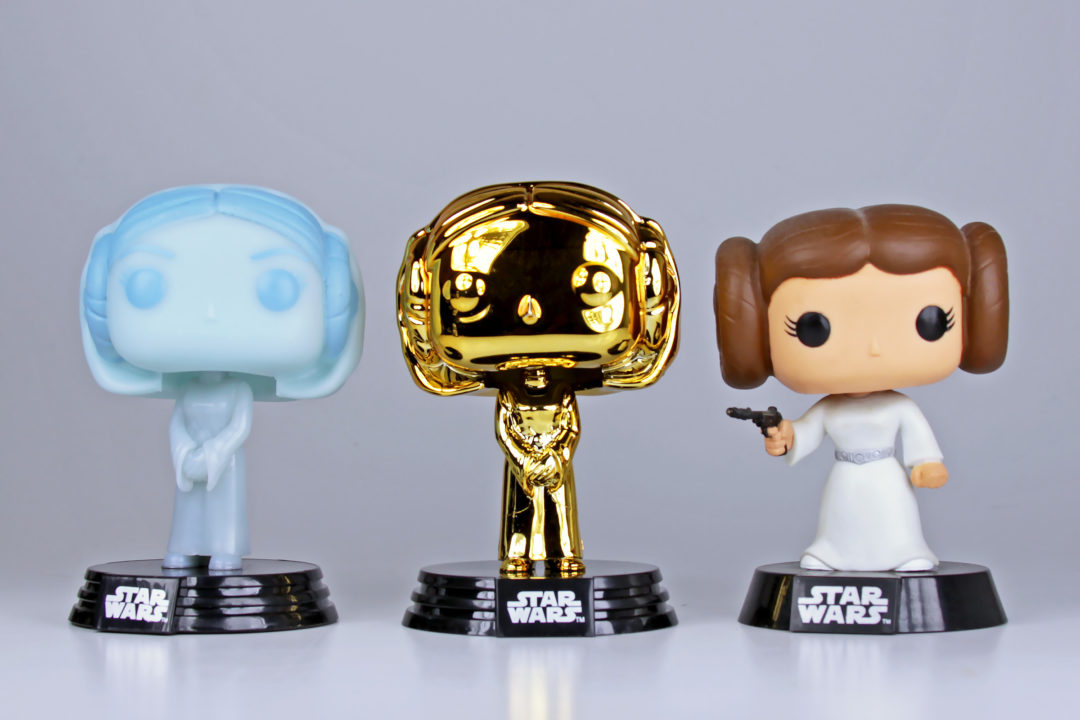 Funko Pop! Vinyl Princess Leias - Hologram (from 2-pack), Gold convention exclusive, and classic.