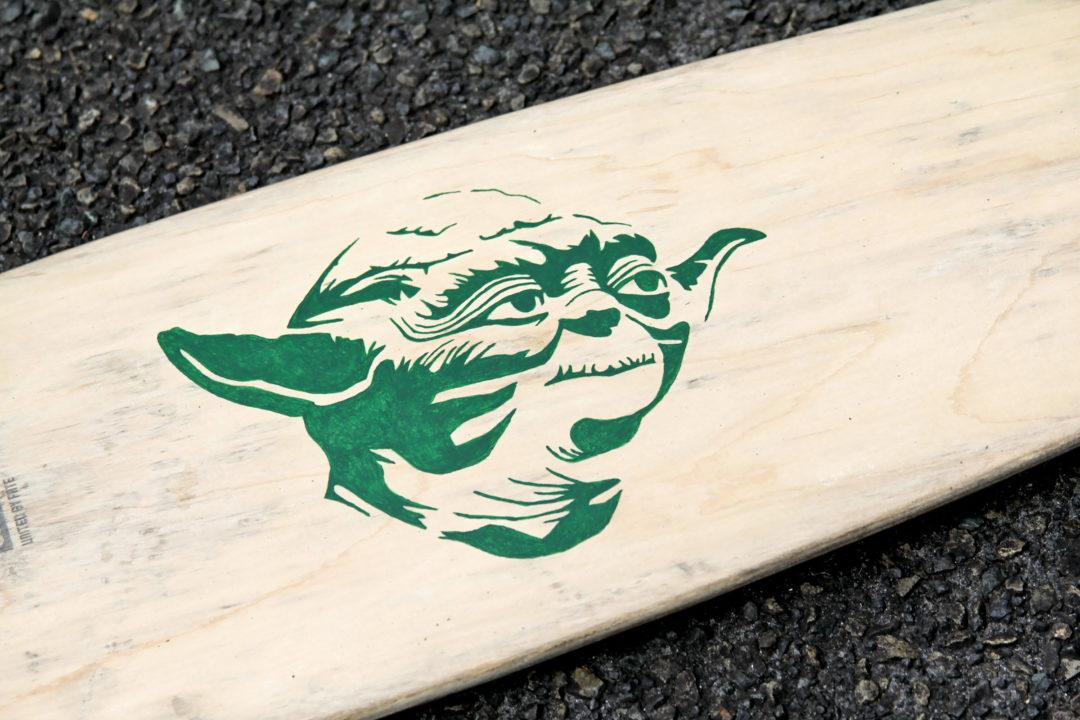 Custom Star Wars Skateboard - Stencil Yoda